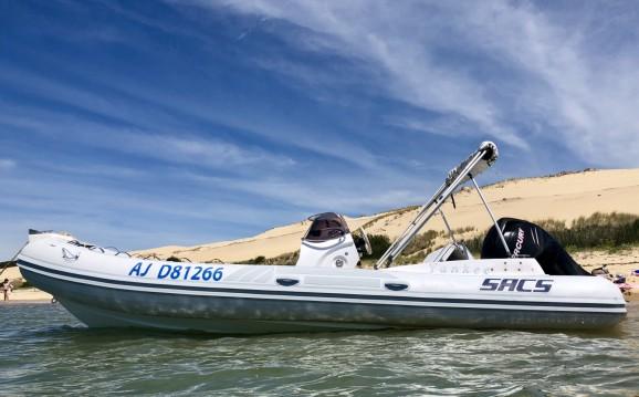 Verhuur Rubberboot Sacs met vaarbewijs